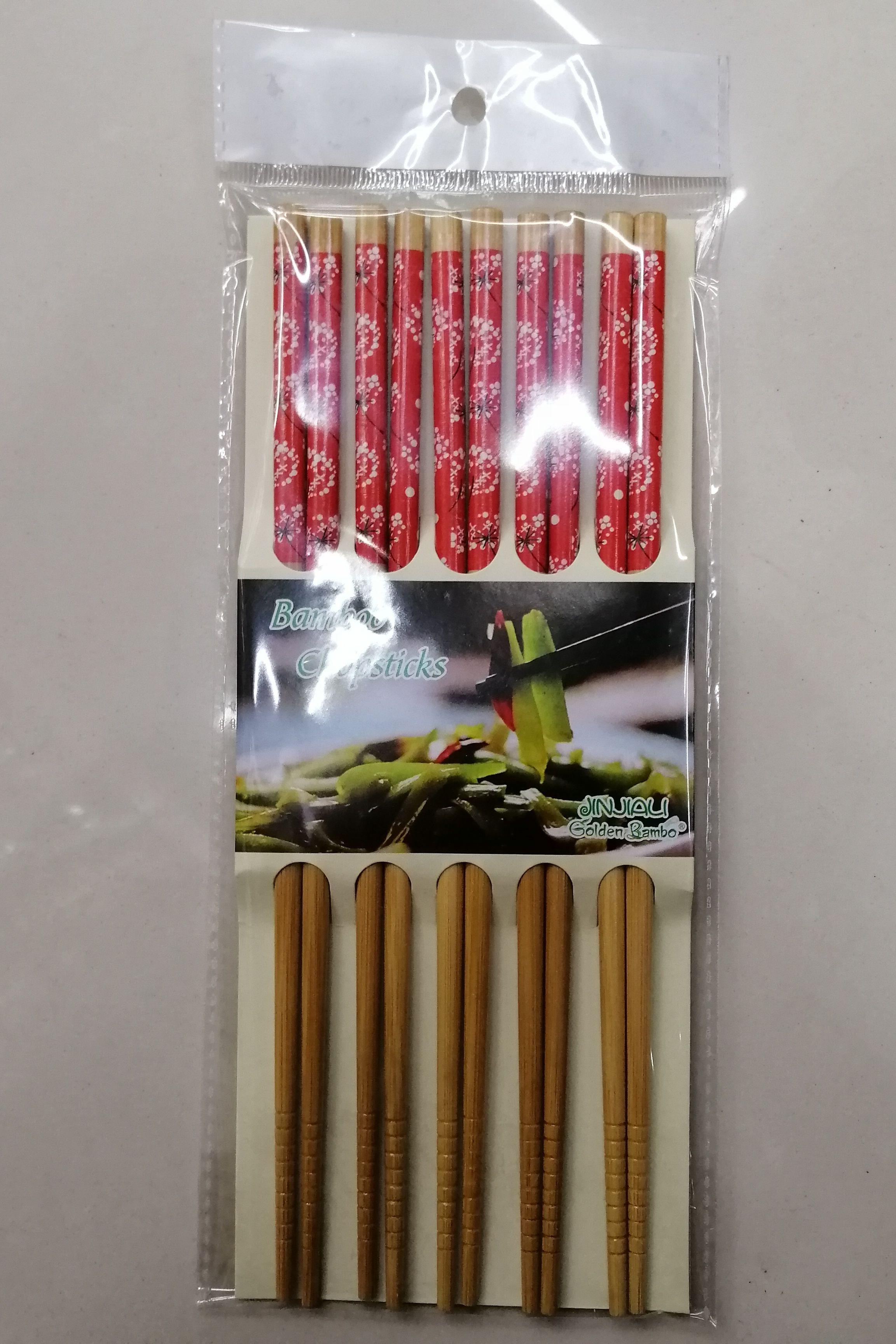 天然竹制印花筷子套装家用中式防滑环保小花