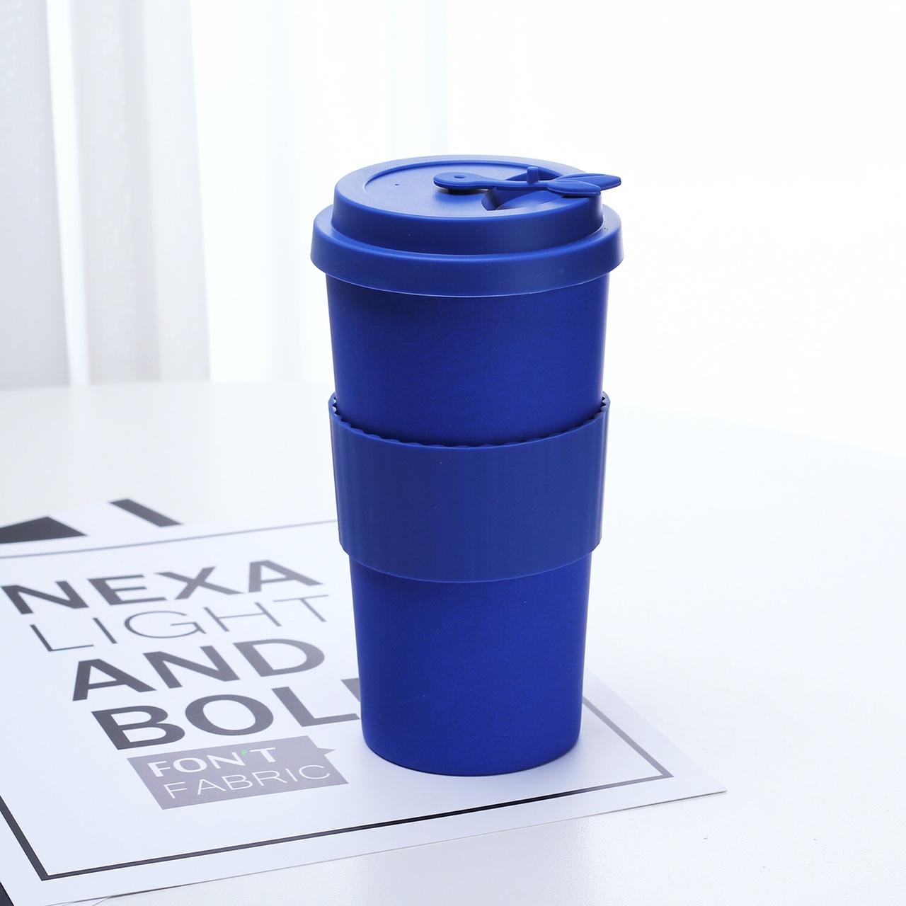 亚马逊货源 竹纤维咖啡杯素色 500ml 现货独立包装