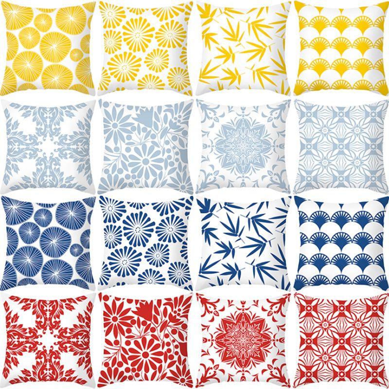 桃皮绒抱枕套定制北欧简约几何印花办公室靠垫套沙发靠枕跨境热卖
