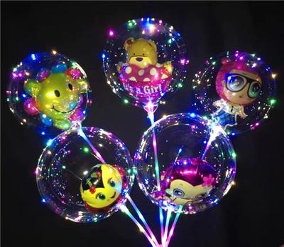 网红波波球透明带灯儿童卡通球中球发光气球闪光广场地推热卖
