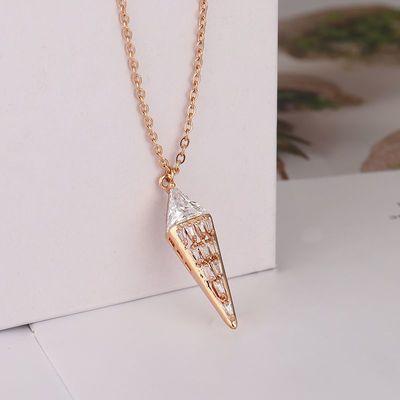 甜筒冰淇淋锆石钛钢项链女士吊坠百搭三角形水钻几何水晶钛钢项链