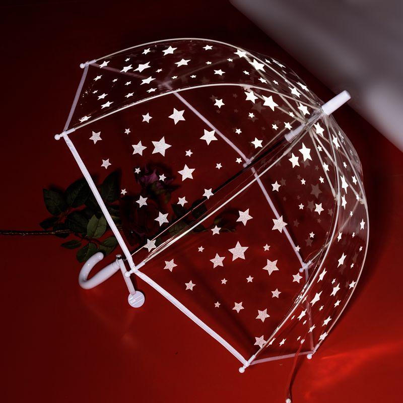 RST067雨伞小星星雨伞可爱白色包边雨伞长伞可爱蘑菇童伞批发