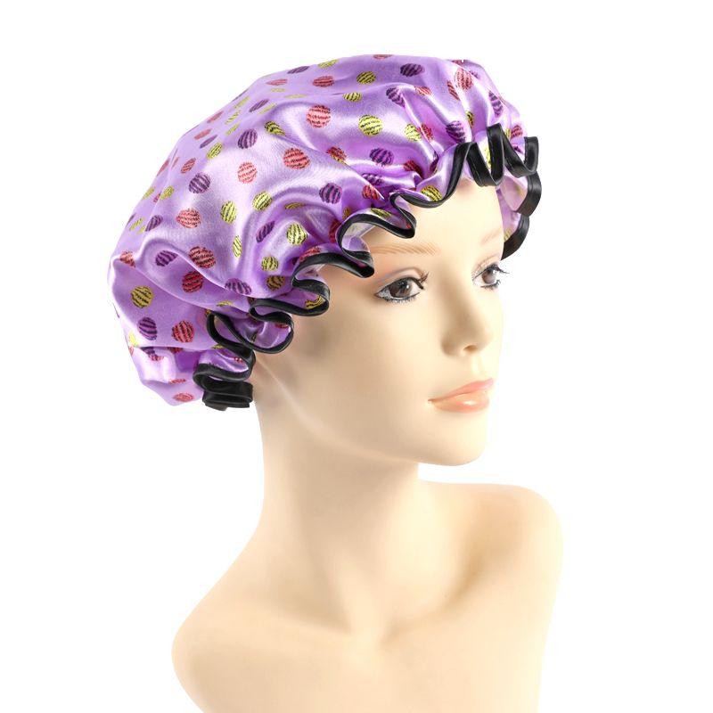 厂家批发新款印花缎绸双层包边浴帽 洗漱化妆帽 防油防尘沐浴帽子