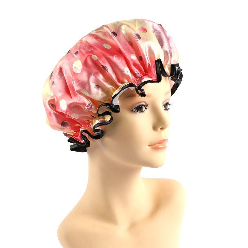 厂家批发 新款彩色印花圆点双层包边浴帽 成人女洗澡防尘防灰浴帽
