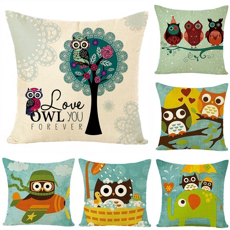 新款亚麻 数码印花猫头鹰图案抱枕套 沙发客厅靠枕 不含芯 可定制