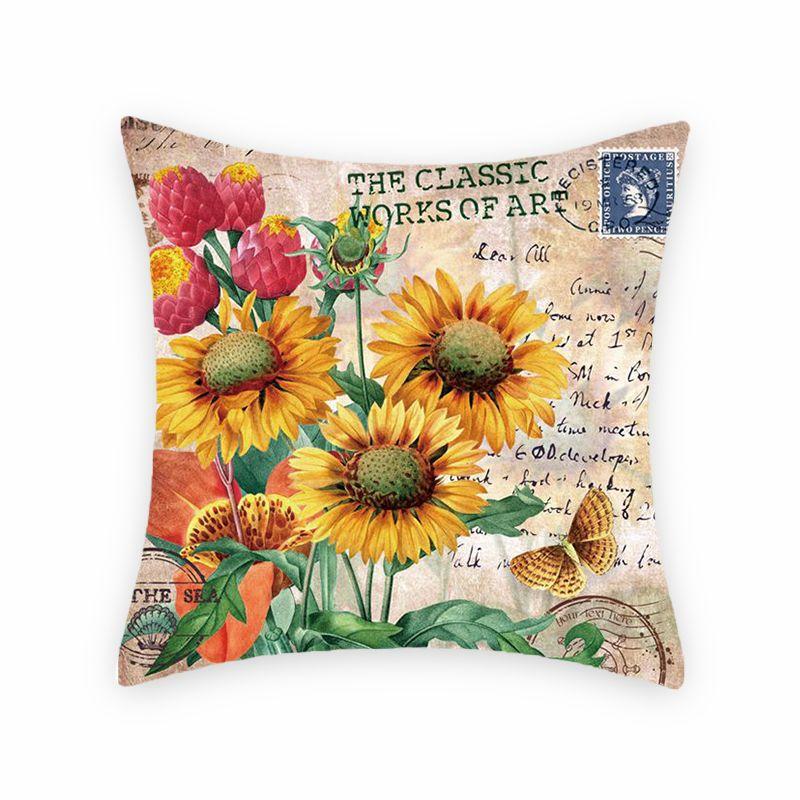 向日葵数码印花抱枕套 沙发办公室装饰靠垫 汽车靠背 样板间靠枕