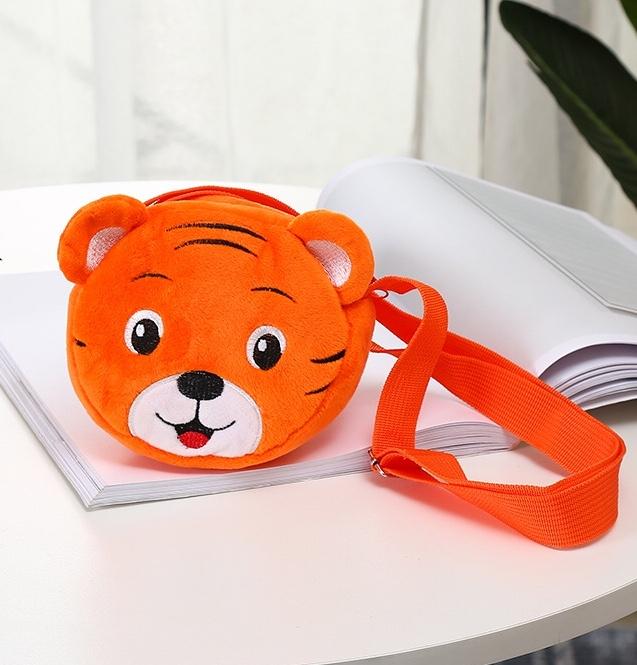 毛绒玩具包卡通包儿童挎包14cm立体刺绣挎包老虎挎包