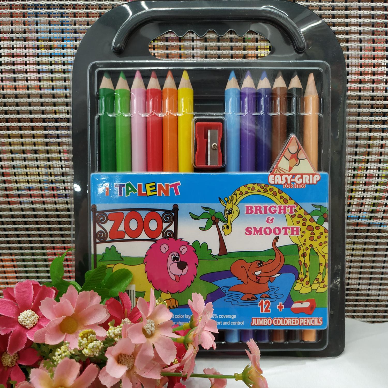 儿童幼儿园学生绘画办公作图记号标记外贸进出口超市专卖12色粗三角彩色铅笔手提式超市专卖