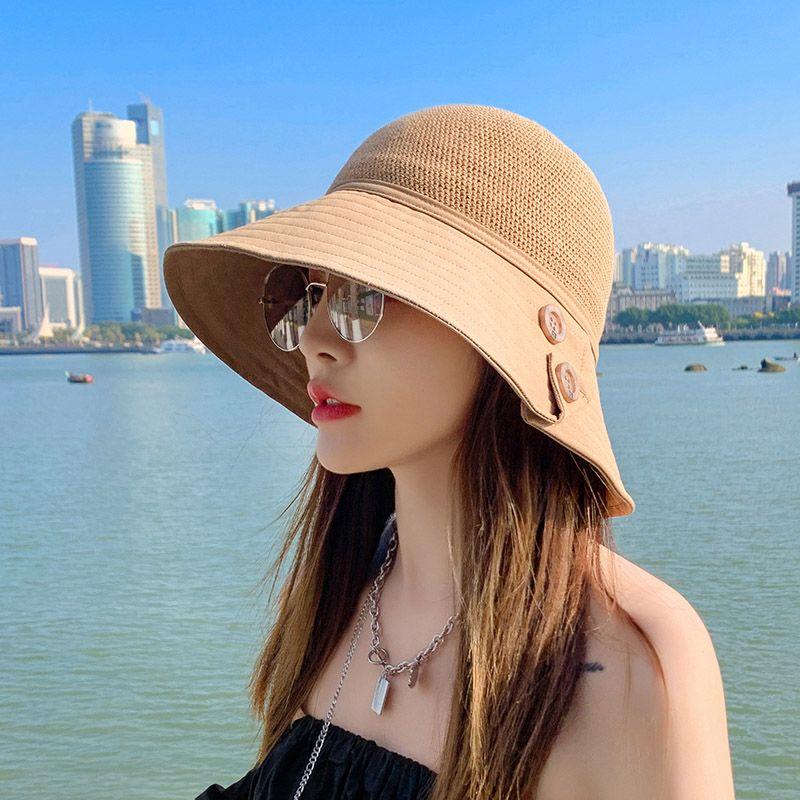 帽子女时尚拼接大沿盆帽潮流日系百搭太阳帽