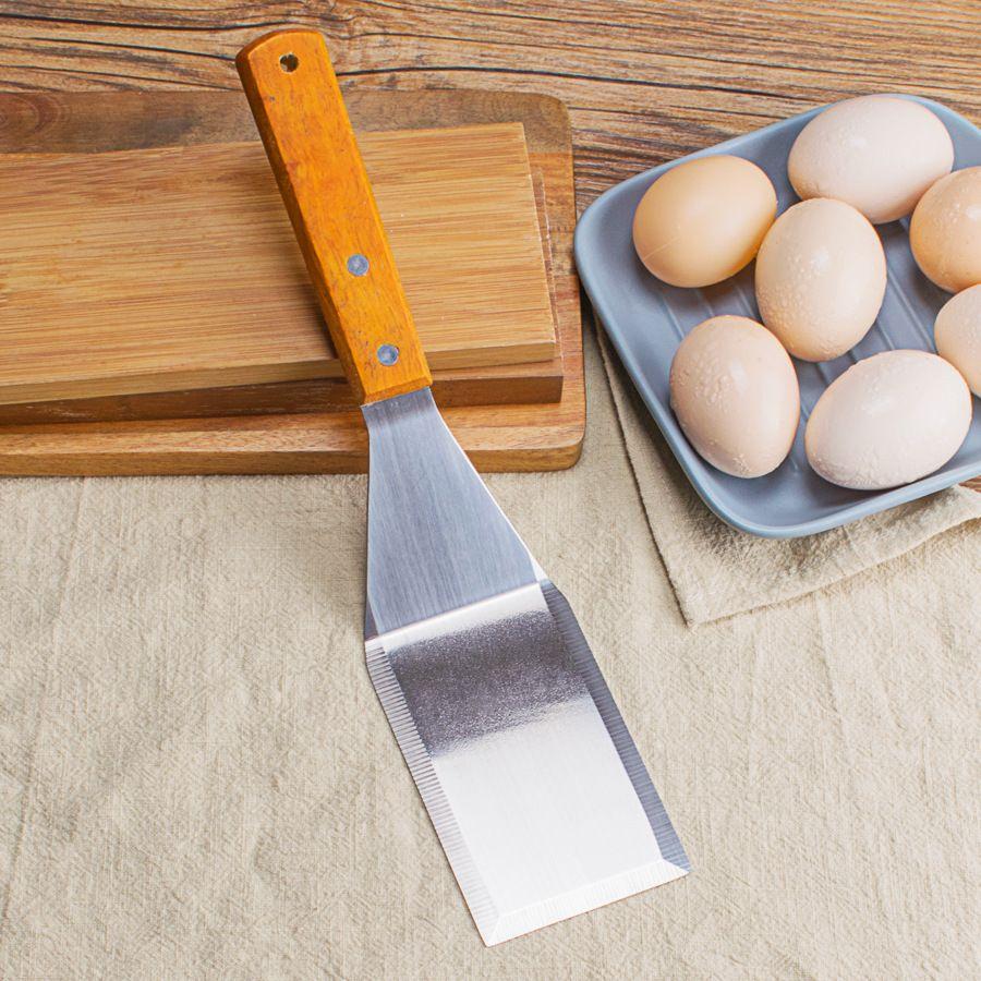 不锈钢木柄煎铲厨房日式料理铲子煎牛排扒铲铁板烧铲万用铲批发