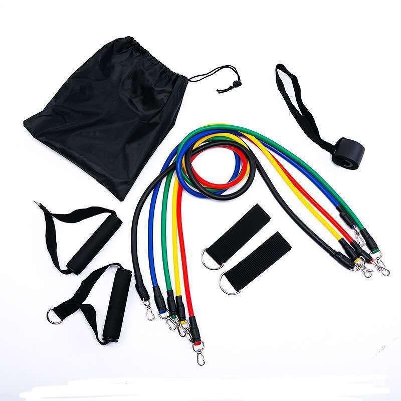 优势 批发11件套拉力绳健身器材瑜伽室内运动乳胶阻力带TPE拉力带套装
