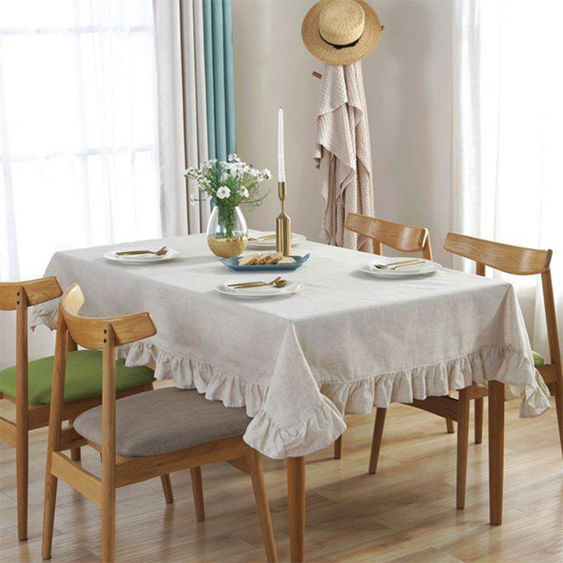 欧式桌布布艺棉麻简约荷花边餐桌布INS北欧风亚麻茶几盖布定制