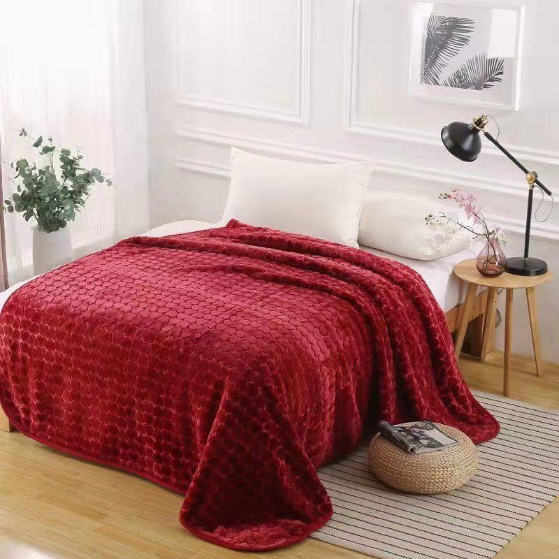 床上用品拉舍尔单层素色压花毛毯外贸毛毯