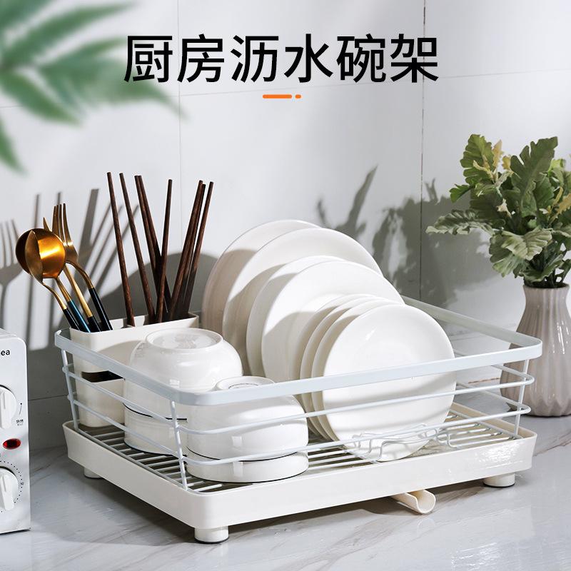 J01-3012厨房置物架加粗加厚碗架沥水架餐具碗筷盘子北欧收纳架