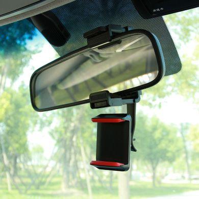 创意汽车后视镜导航手机座360度旋转通用型车载手机支架厂家直销