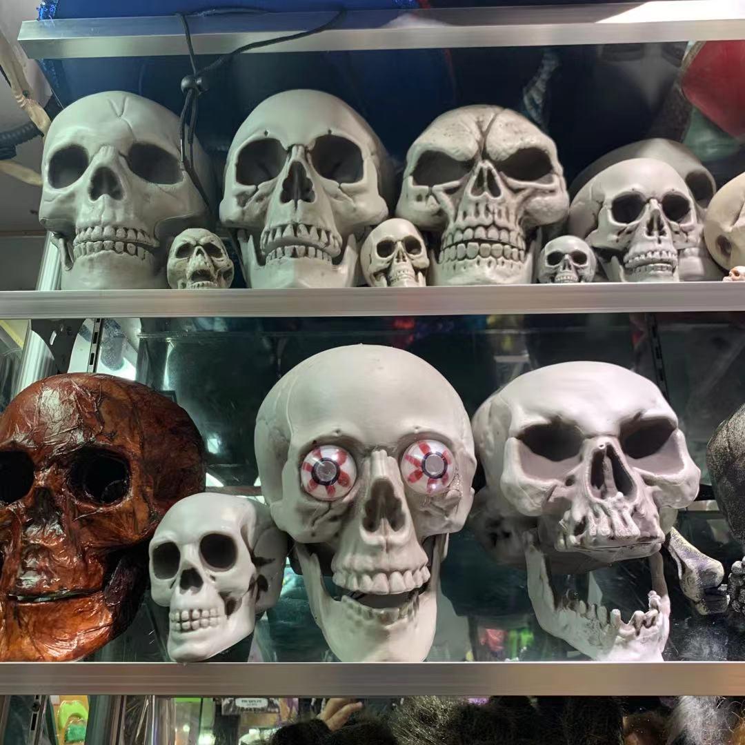 塑料模型万圣节人头骨摆件鬼节万灵节人头骨道具各类尺寸款式人骨头外贸出口