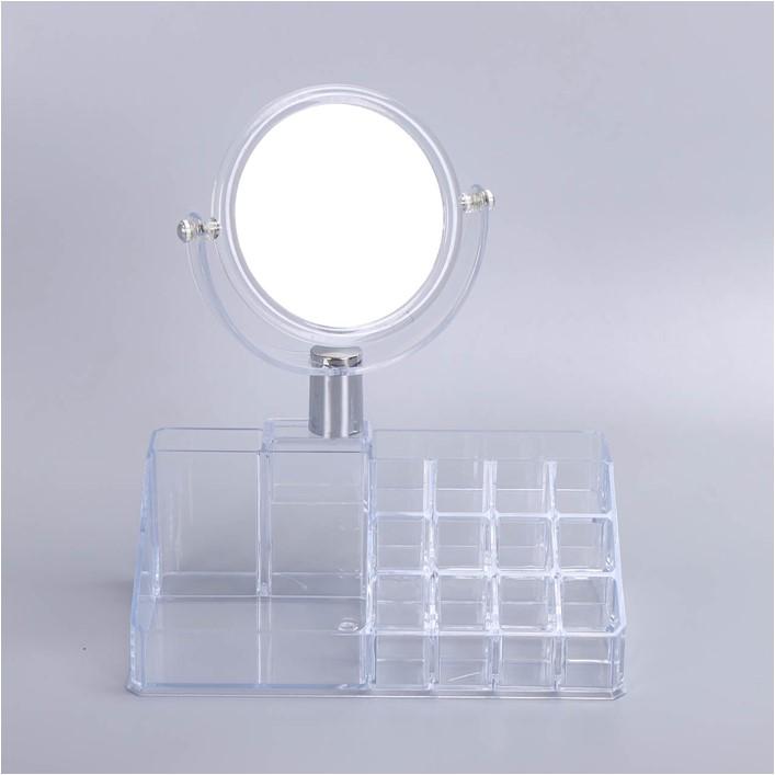 热销欧式简约化妆品收纳盒桌面置物架口红护肤品收纳盒亚克力防尘