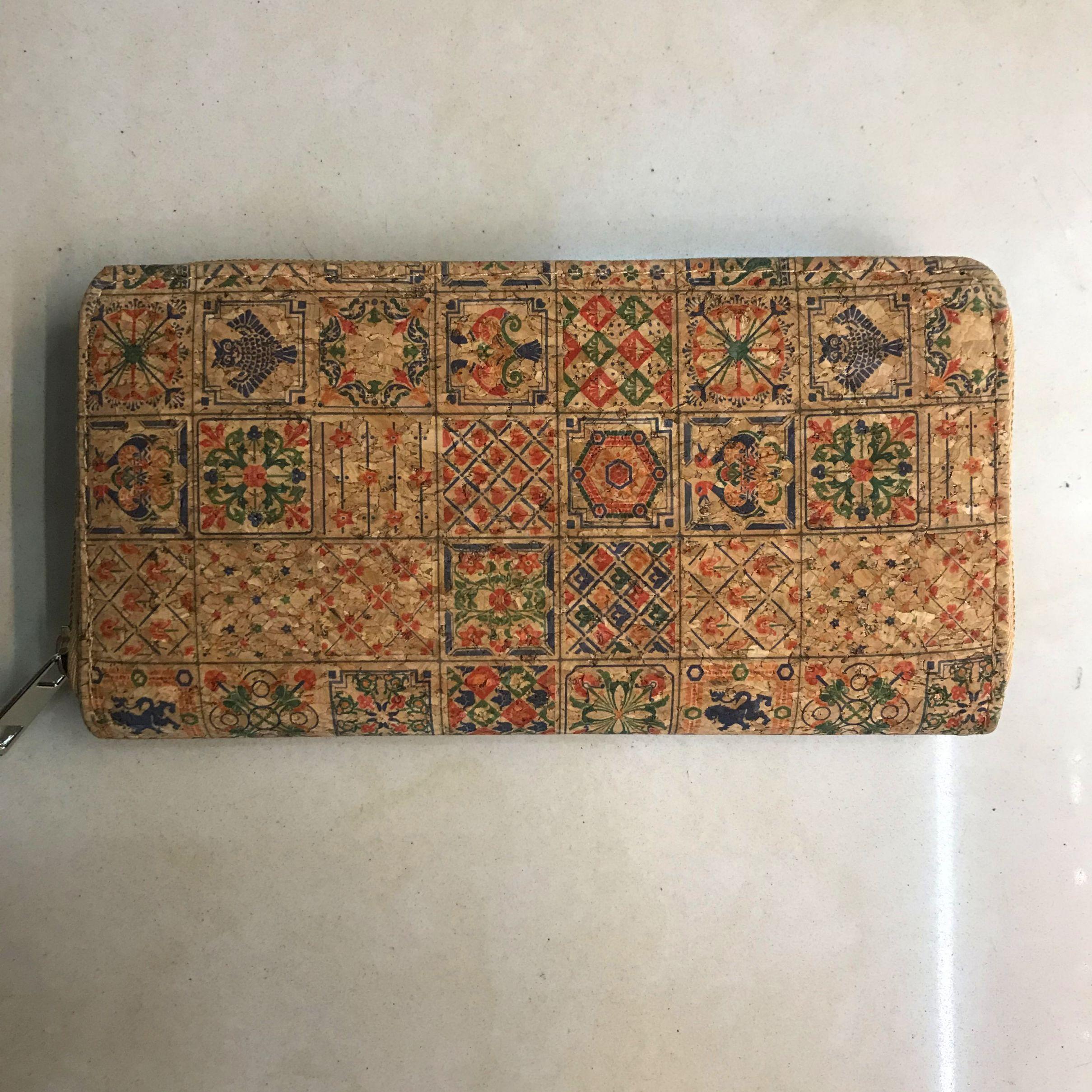 11525 女士钱包复古木纹单拉多功能印花拉链长款钱包