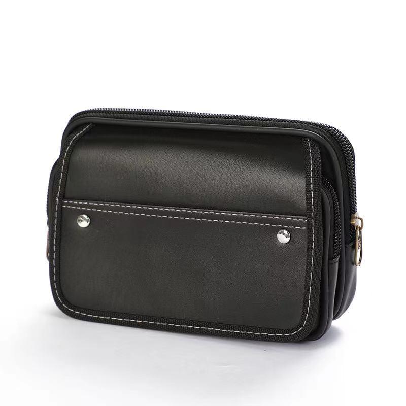两层仿皮手机腰包带盖穿皮带腰包现货批发量大优惠