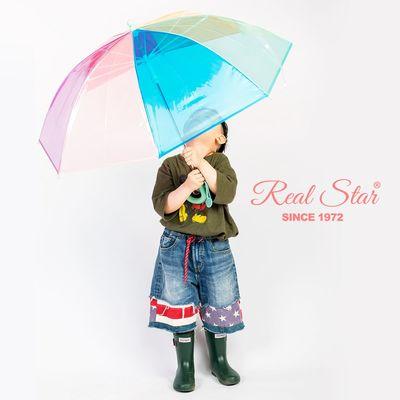 彩虹透明雨伞小孩子防夹手雨伞POE雨伞安全透明伞长伞批发