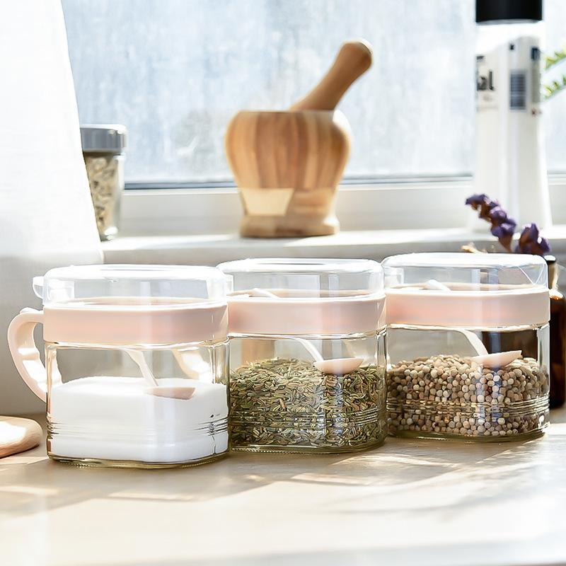 B37-1033家用厨房用品玻璃调料盒盐罐调味罐家用佐料瓶调味瓶
