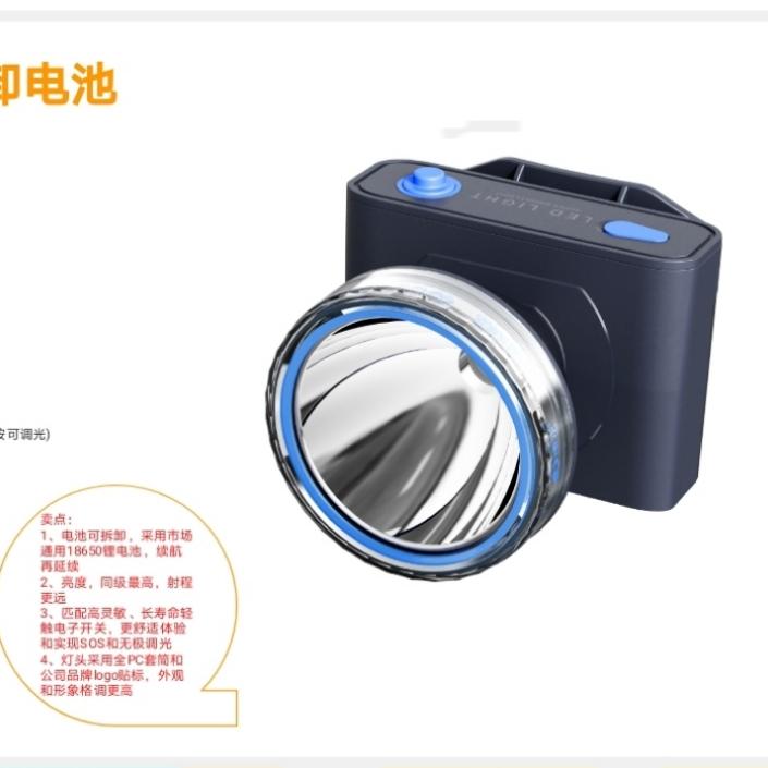 康铭KM-2898可拆卸锂电池头灯
