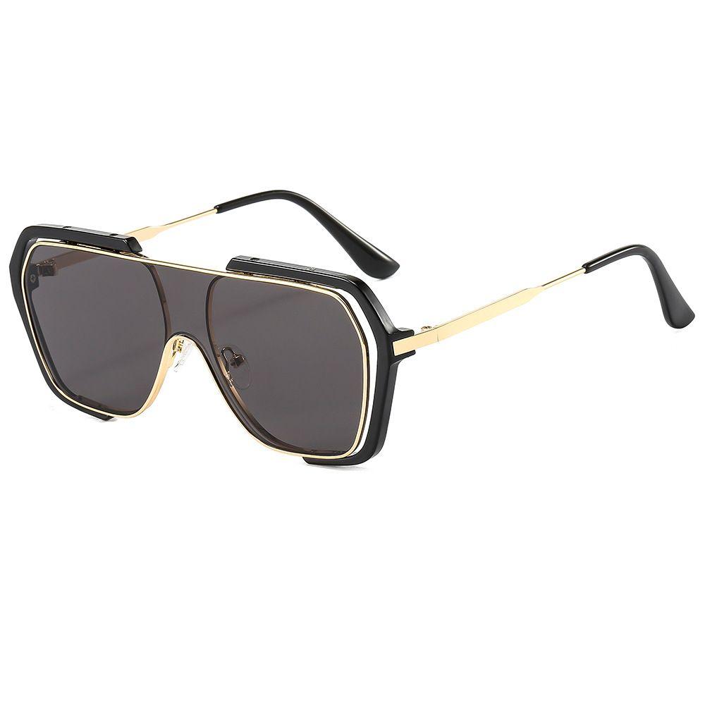 新款时尚韩版多边形一体片太阳镜个性双圈镜框大框墨镜男女士通用眼镜
