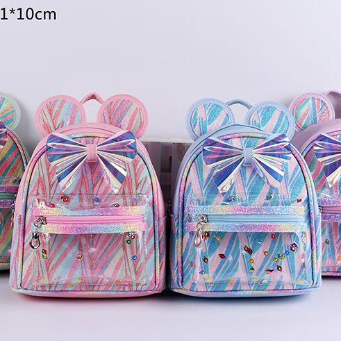 多色可选厂家直销内销外贸批发可爱卡通蝴蝶结儿童双肩包亮片炫彩