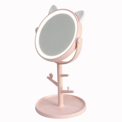 创意可爱萌宠喵星人台式收纳LED化妆镜子智能补光带灯美妆镜子