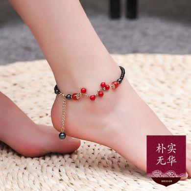 红色玛瑙足链 复古原创韩版性感简约百搭夏季个性脚链女 脚踝链潮