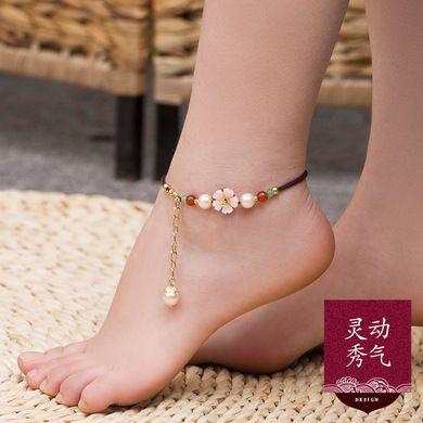 贝壳花片古典脚链女民族风复古手工玛瑙足链简约百搭学生脚踝链