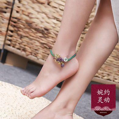 红玛瑙古风脚链女性感招桃花潮人简约足链韩版学生闺蜜森系脚饰品