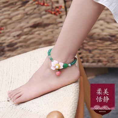 绿玛瑙玉脚链女手工古风脚饰性感简约百搭森系足链云南翡翠脚踝链