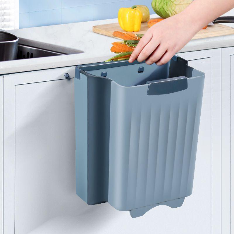 大号厨房垃圾桶家用壁挂式橱柜门创意折叠小号厨余分类拉圾收纳筒