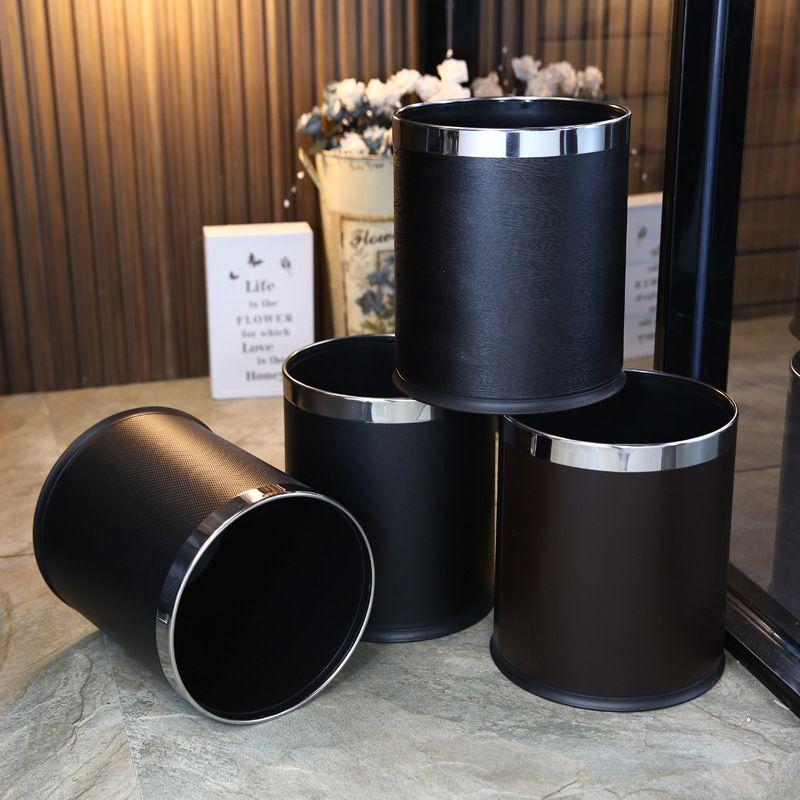 酒店民宿宾馆家居垃圾桶客房厨房卫生间垃圾桶双层圆垃圾桶可定制LOGO