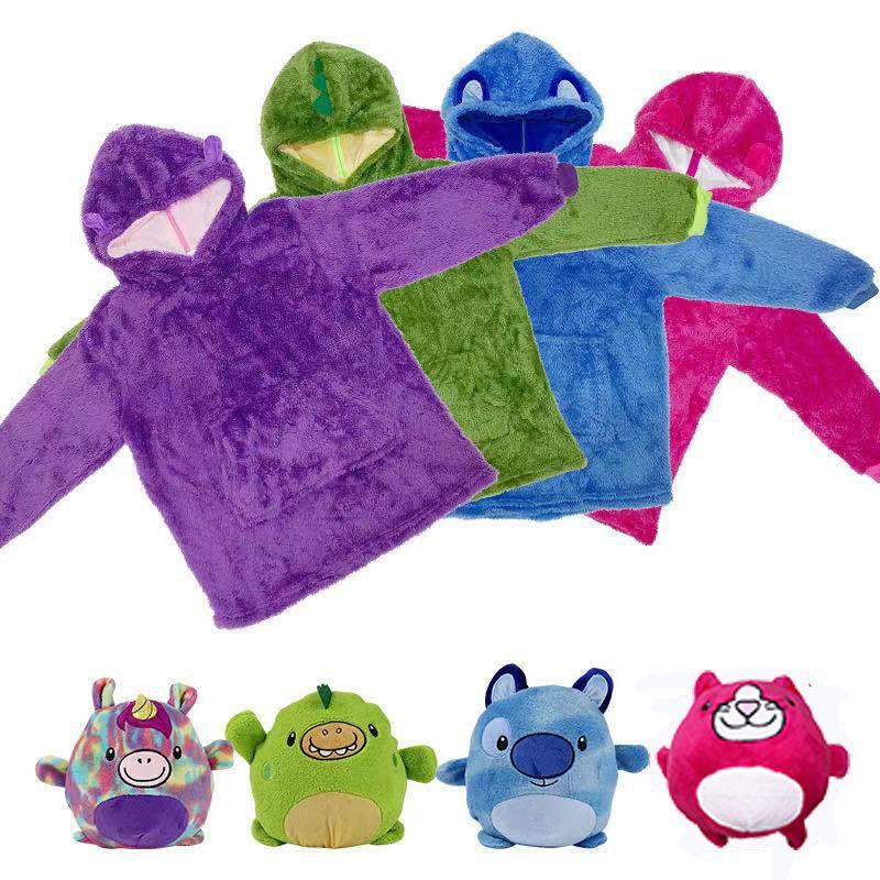 跨境卡通Huggle公仔懒人睡衣儿童套头睡衣动物卡通抱枕儿童