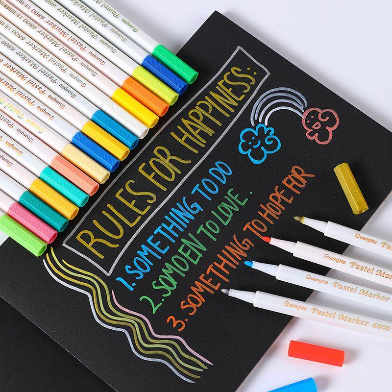 跨境广纳6800粉彩笔12色24色36色套装水彩笔相册涂鸦笔金属彩色笔