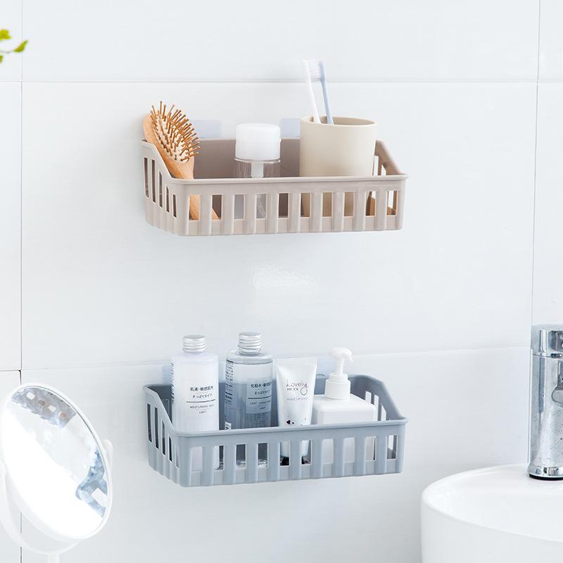 J85-卫生间置物架免打孔置物篮无痕塑料壁挂收纳篮洗手间收纳架