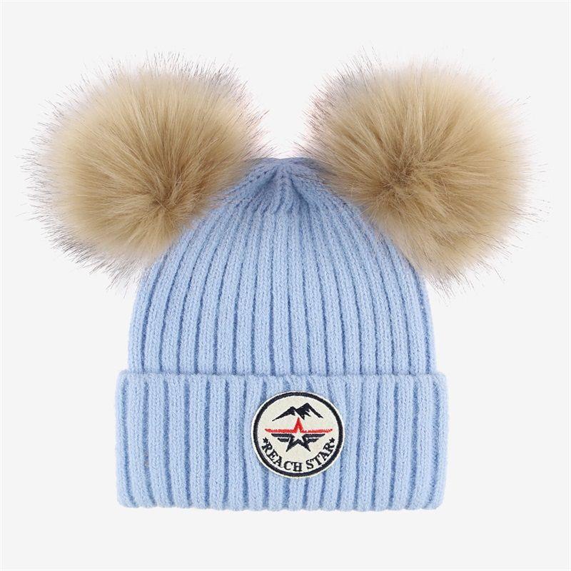 新款冬季针织毛线帽女锥形圆顶加绒翻边帽户外保暖防寒ins时尚双球羊驼绒帽纯色女帽