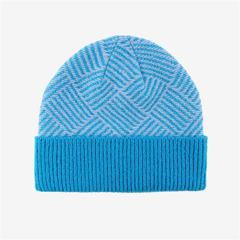 秋冬新款卷边圆顶缎纹缎档毛线帽户外保暖冬季翻边帽加工定制针织帽双色帽时尚帽
