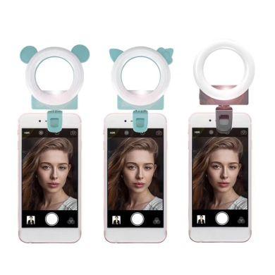 手机补光灯板 环形可爱卡通版化妆镜LED灯创意新品美颜自拍直播灯