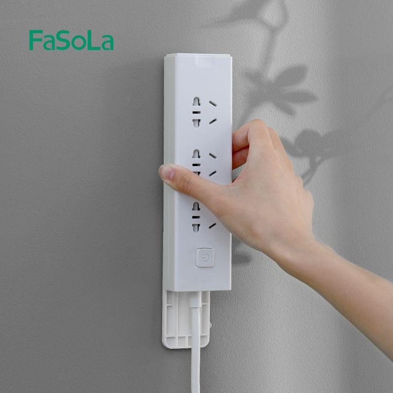 排插固定器壁挂墙上贴路由器收纳免打孔免钉插线板插座插排理线器 免打孔 墙面固定 粘性强 安装简单