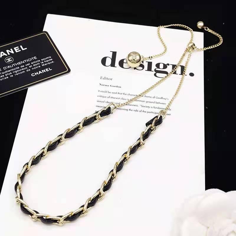 黑色小皮绳颈链