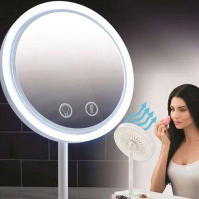 三合一 led带风扇化妆镜小镜子 创意led带灯台式放大镜