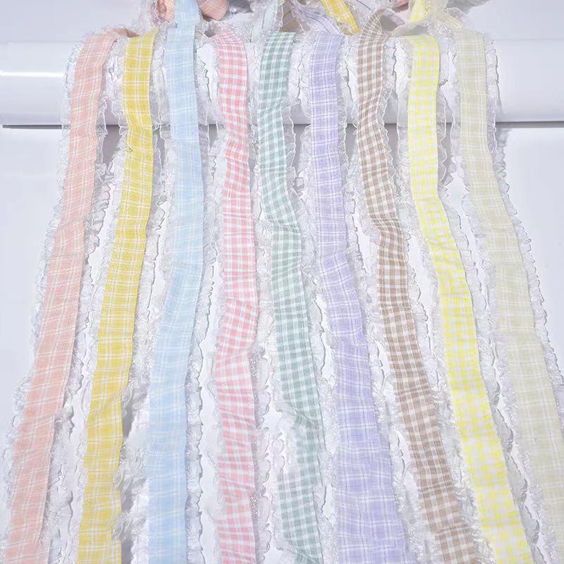 新品格子纱带,花边织带。DIY手工制作,饰品,花束包装