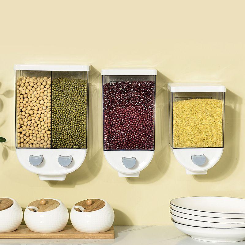 按压式五谷杂粮储米桶 厨房壁挂式储物罐 防潮密封计量透明杂粮罐