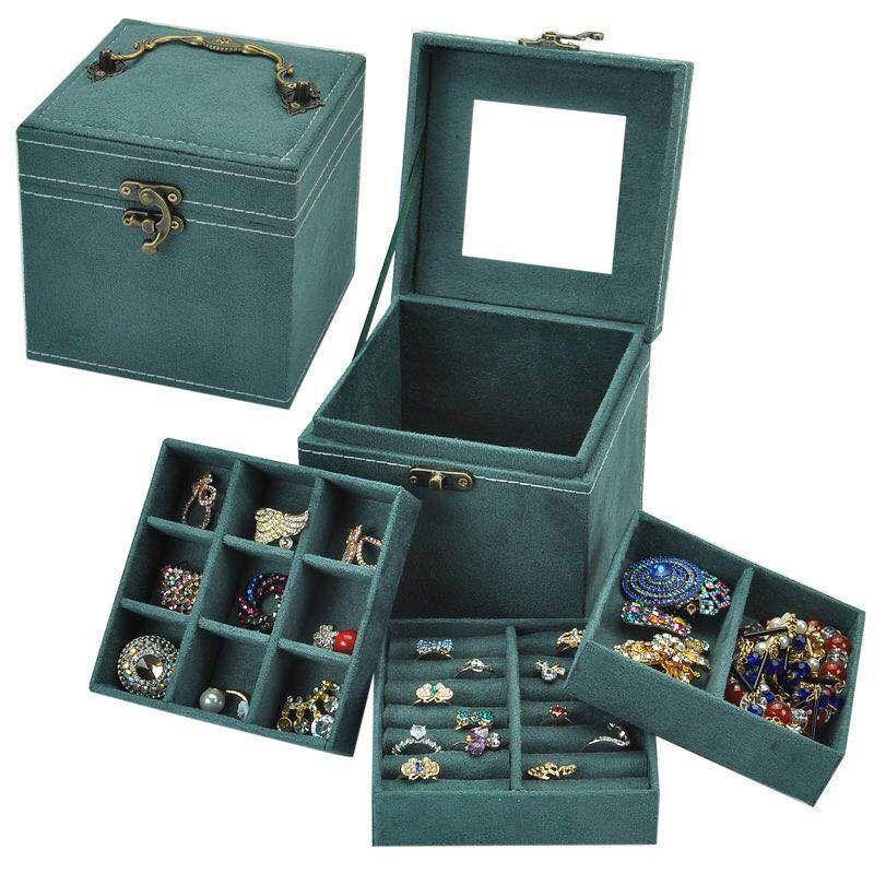 戒指项链耳钉耳环收纳盒简约防尘多功能珠宝箱小饰品首饰整理盒子