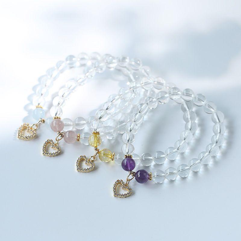 喜马拉雅白水晶单圈手链女 四款紫水晶海蓝宝珠宝饰品爱心手链ins