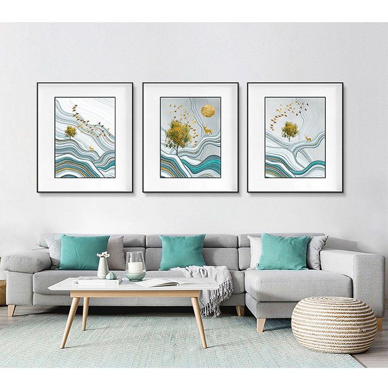 秋日旷野野现代简约客厅装饰画沙发背景墙上挂画轻奢三联画抽象鎏金线条壁画