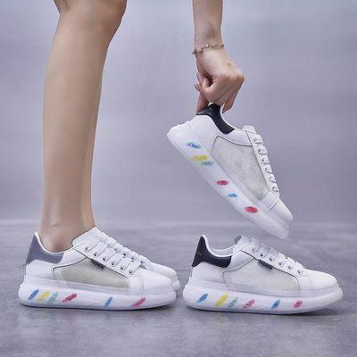 ins网面透气麦昆小白鞋女2021夏季新款韩版学生厚底板鞋女MKG002